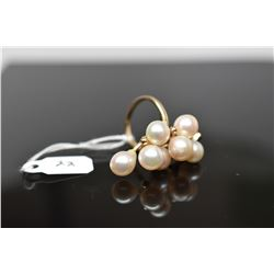 Pearl Cluster Ring - 7 Cultured Pearls 7-8mm, 14K Yellow Gold, 8.1 grams