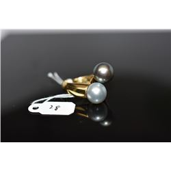 Tahitian Cultured Pearl Ring - 10mm Black Pearl, 10mm Gray Pearl, 14K Wht Gold, 8.5 grams