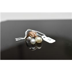Pearl Cluster Ring, Floral Branch Design w/3 Cultured Pearls & 9 Seed Pearls, 14K, 3.7 g