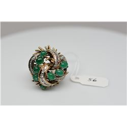 Emerald & Diamond Cluster Ring, 8 Emerald Cabochons 3.5X4.5mm, 35 Round Single Cut Diamonds Approx .