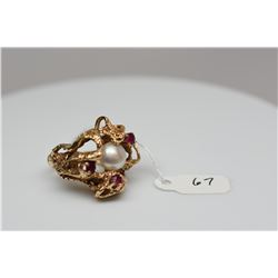 White Pearl & Ruby Ring, 8mm Cultured Freshwater Button Pearl, 3 Round Rubies Approx .36 ct, 14K Yel