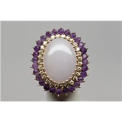Jadeite/Amethyst/Diamond Ring - 22x15mm Jadeite Cabochon, 28 Amethysts Approx 1.40 ct, 28 Diamonds A