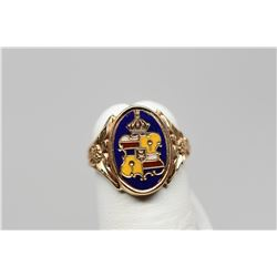 Hawaiian Coat of Arms Ring - Blue Enamel, Floral Design Ring Shank, 14K, 3.7 g