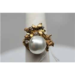 Pearl & Diamond Ring - 12mm South Seas Cultured Pearl, 4 Diamonds .06 ct, 14K Yellow Gold, 8.2 g