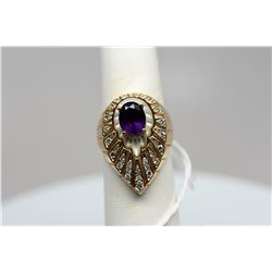 Amethyst & Diamond Ring - 1.25 ct Oval Amethyst, 25 Diamonds Approx .21 ct, Frosted Crystal, 14K Gol