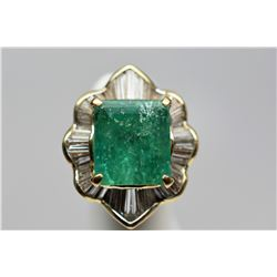 12 ct Emerald & Diamond Ring - Rectangle Cut Emerald, 44 Baguette Diamonds, 18K Yellow Gold, 20 g