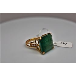15 ct Emerald & Diamond Ring - 16.6 x 16  x 9.3mm Square Cut Emerald, 6 Round Brilliant Cut Diamonds