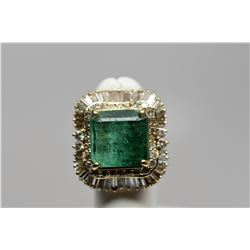 10 ct Square Emerald & Diamond Ring - 32 Round Diamonds, 42 Baguette Diamonds, 14K Gold, 15.2 g