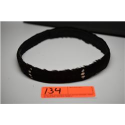 """Black Feather Hat Band - 1"""" Width, 6 Vertical White Bands, Good Condition"""