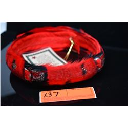 """Red & Black Goose Feather Hat Band - 2 1/4"""" Dyed Red w/ Blk & Wht Spotted Feathers, Good Cond."""
