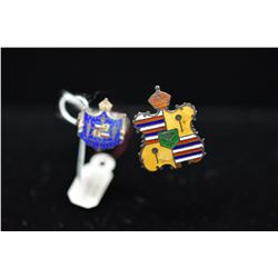 """Qty 2 Sterling Enameled Hawaiian Coat of Arms Hat Pins, 7 3/4"""" - 8 1/4"""" Length"""
