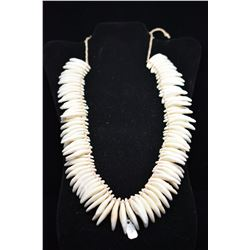 """Tooth Necklace w/Braided Cord Tie, 20"""" Length, Period Reproduction"""