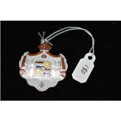 Sterling Enameled Hawaiian Coat of Arms Pendant, Sterling Silver, 7.8 g
