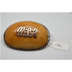 """Vintage Cabochon Brooch, Unmarked Yellow Gold w/Monogram """"RSA"""""""