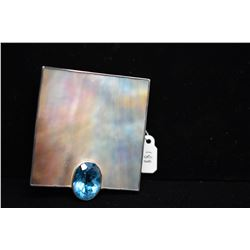 """Large Sterling Topaz/Mother of Pearl Pendant 2 3/8"""" x 2 1/4"""" - Blue Topaz 6 ct, Sterling 44.4 g"""
