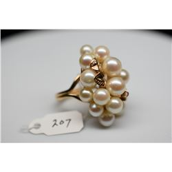 Ming's 16-Pearl Cluster Ring - Cultured Pearls,14K Yellow Gold, 12.8 g