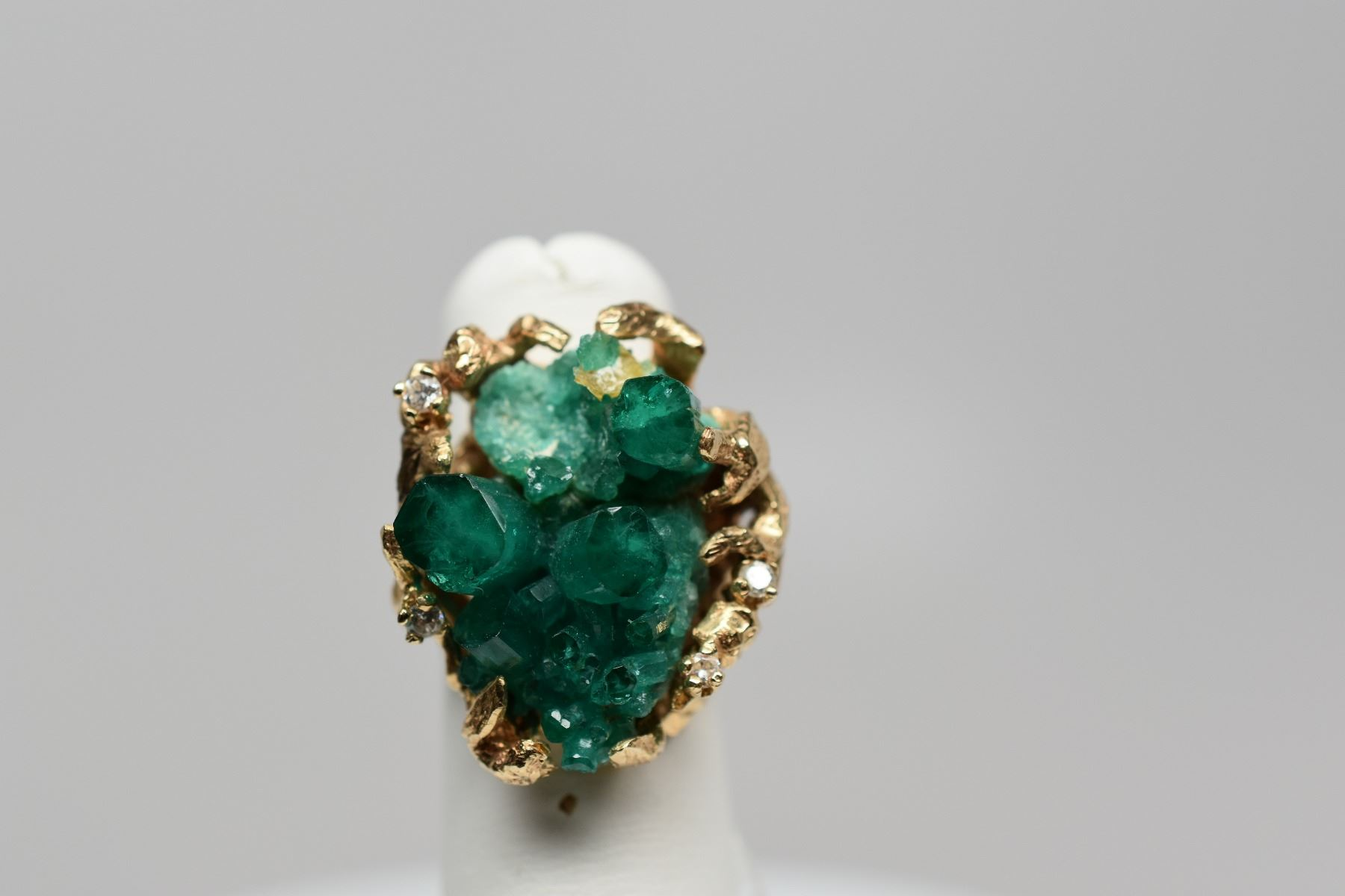 cut brilliant and emerald fancy set diamond ring yellow rub gold over product cluster
