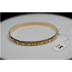 "14K Gold ""Kuuipo"" Hawaiian Bangle Bracelet 6mm, Embossed Floral & Vine Motifs, Hinged, 13.1 g"