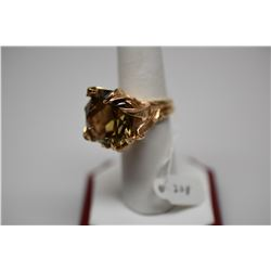 16.5 ct Round Citrine 14K Gold Ring - 18.1mm x 10.5 Round Citrine, 14K Gold, 14.4 g