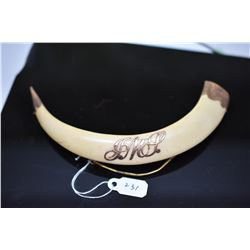 "Hawaiian Boar's Tusk Brooch - Unmarked Yellow Gold Monogram Initials & Fittings, 4 3/4"" Curved"