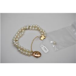 "Ming's Double-Row Pearl Bracelet 7"" - Cultured Pearls 6.5mm, 14K Gold Oval Phoenix Bird Clasp (needs"