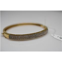 Diamond Bangle Bracelet 14K Gold w/ 126 Round Diamonds 1.26 ct, 4mm Width, 21.9 g