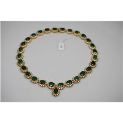 Emerald & Diamond Link Necklace - Oval Emerald 2.0 ct. Total 29 Emeralds 58 ct, 12 Diamonds .24 ct.