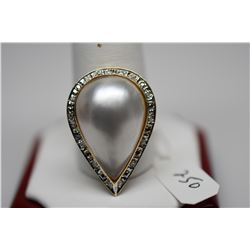 Pearl & Diamond Ring - 23x15mm Mabe Pearl, 13 Diamonds .13 ct, 14K, 5.5 g