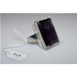 17.75 ct Rectangle Amethyst Ring - 22x16.7x7mm, 56 Cubic Zirconias .56 ct, 925 Silver, 12.2 g