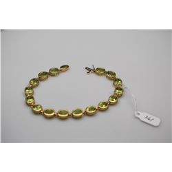 14K Gold Link Bracelet w/16 Oval Peridots, 6x8mm Each, Approx. 20 ct Total Wt, 12.2 g