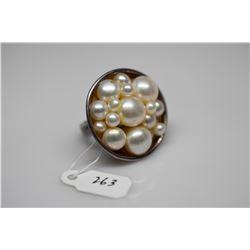 Cultured Round/Button Pearl Ring - 4mm to 9.5mm Pearls, 925 Silver, 16 g