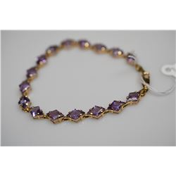 "12 ct Amethysts Link Bracelet 6 7/8"" Length - 16 Amethysts 6x9mm Each, 12 ct, 14K Gold, 7.1 g"