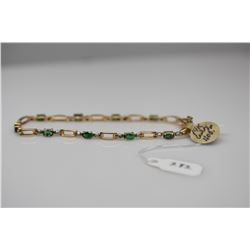 "Emerald & Diamond Link Bracelet 7 1/8"" L - 10 Emeralds (3x4.5mm each, approx. 2.0 ct total wt), 20 D"