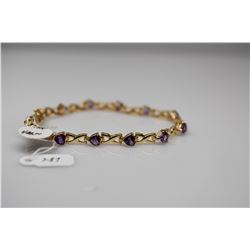 "Heart-Shaped Amethyst Link Bracelet 7 3/8"" L- 12 Amethysts 5x5mm Each, 6.0 ct Total Wt, 14K Gold 9.3"