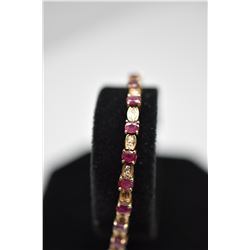 "Rubies & Diamonds Link Bracelet 6 7/8"" L - 25 Rubies (3x4mm Each, 3.75 ct), 48 Diamonds .48 ct, 14K,"