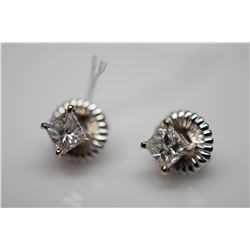 1 ct Diamond Stud Earrings - Each w/ Approx 1.0 ct Diamond (Imperfect Clarity),14K White Gold, 1.8 g