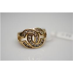 "Diamond Cartier Style Ring ""Opposing C's"" Design - 22 Diamonds .66 ct (Imperfect Clarity), 14K Gold,"