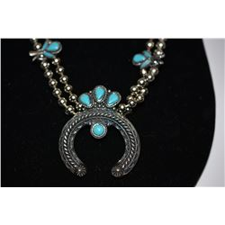 Squash Blossom Necklace - Inlaid Turquoise, Horseshoe, 12-inch Dbl Strand Silver Colored Beads, Silv