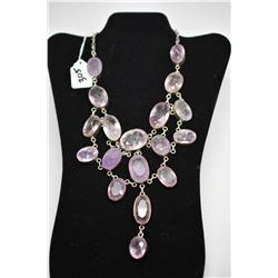 3-Tiered Amethyst & Rose Quartz Necklace, Sterling, 10 Faceted Amethysts & Quartz Crystals