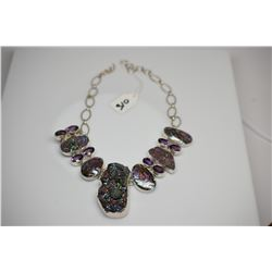 "Sterling Silver Necklace - 22.5"" w/ 8 Oval Amethyst, 3 Iridized Druzy Quartz Crystals, Abalone"
