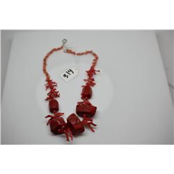 "Red Branch Coral Necklace - 22"" Graduated Chunks, Enhanced Red Color"