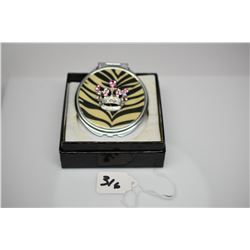 Pink Rhinestone Royal Crown Fashion Mirror Compact w/ Zebra Print