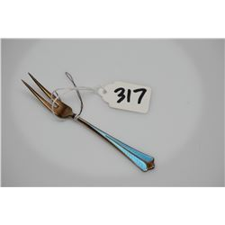 Sterling Cocktail Fork - Silver Vermeil Wash w/ Feathered Robin's Egg Blue Guilloche Enamel, Circa 1