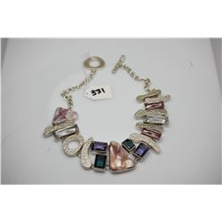 Sterling Silver Handmade Choker w/ Semi Precious Stones: Pearl Shells, 7 Synthetic Multi-Colored Sto