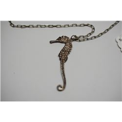 """Vintage 30"""" Sterling Silver Link Chain w/ Sterling Seahorse 2 3/8"""", Marked Italy 925"""