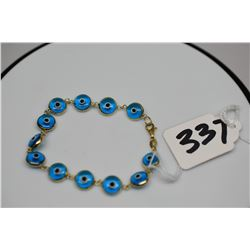 "14K ""Evil Eye"" Glass Bead Bracelet 3 1/2"", Italian"