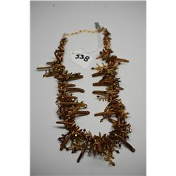 "Costume Necklace 16"" - Gold/Brown Tones, Composite Branches, Plastic Beads"