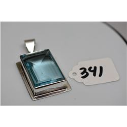 "Blue Topaz Pendant - Sterling Silver, Off-Center Rectangular, Topaz 1 1/4"" x 7/8"""