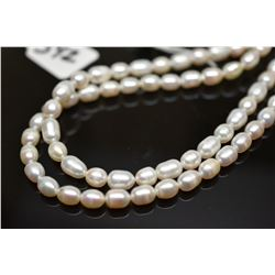 "Double Strand Pearl Necklace 33 1/2""  - 6mm-9mm Egg-Shaped Freshwater Pearls"