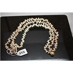 "Triple Strand Champagne Pearl Choker Necklace 18 1/2"" - 6mm-10mm Oblong Freshwater Pearls"